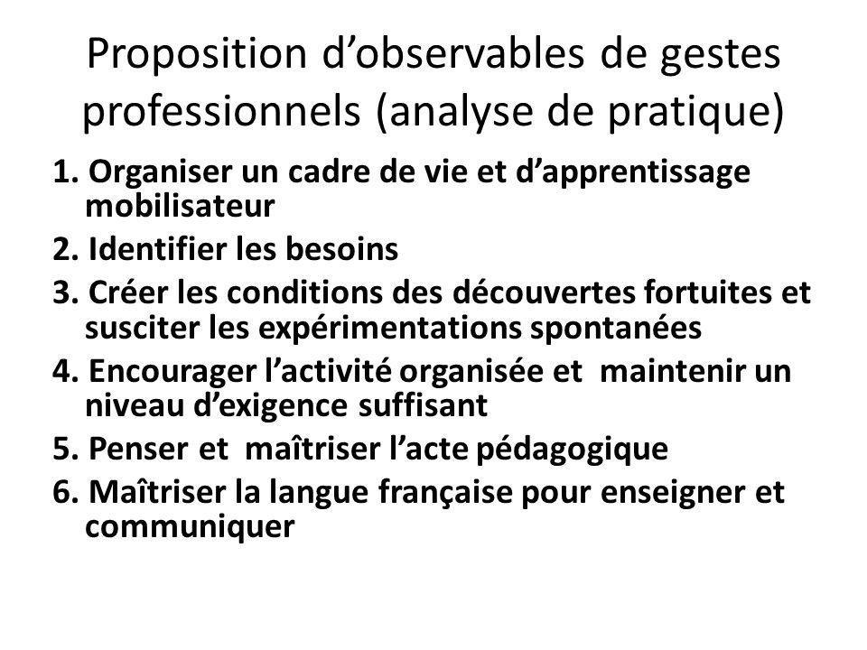 Proposition dobservables de gestes professionnels (analyse de pratique) 1. Organiser un cadre de vie et dapprentissage mobilisateur 2. Identifier les