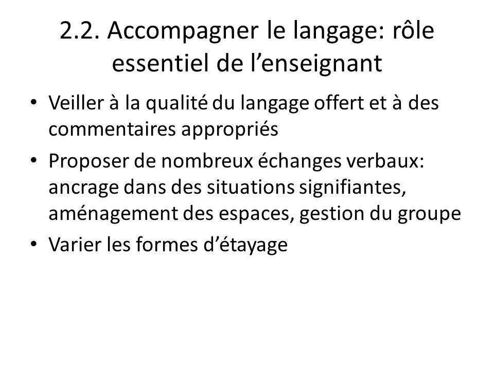 2.2. Accompagner le langage: rôle essentiel de lenseignant Veiller à la qualité du langage offert et à des commentaires appropriés Proposer de nombreu
