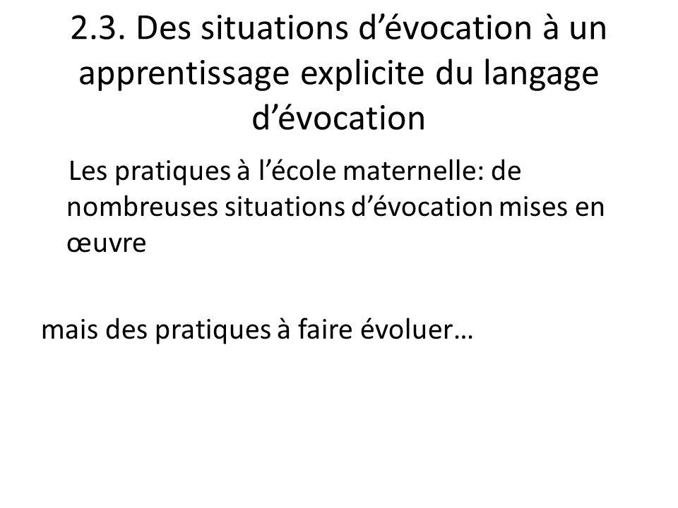 2.3. Des situations dévocation à un apprentissage explicite du langage dévocation Les pratiques à lécole maternelle: de nombreuses situations dévocati