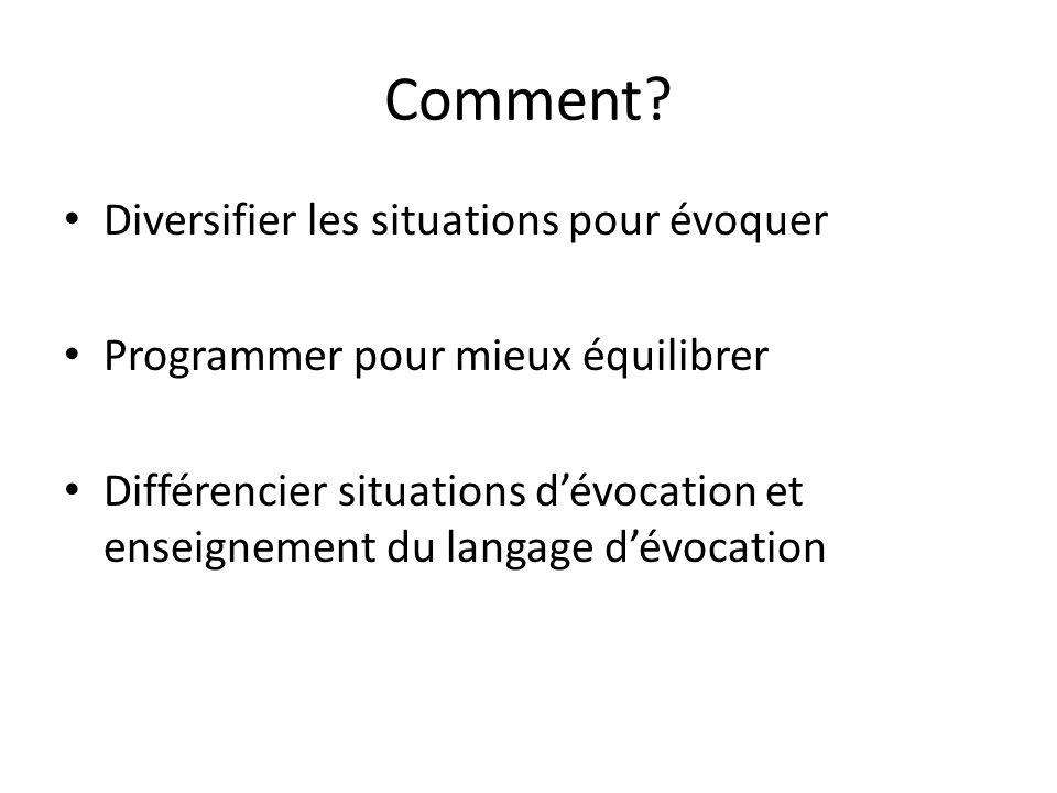 Comment? Diversifier les situations pour évoquer Programmer pour mieux équilibrer Différencier situations dévocation et enseignement du langage dévoca