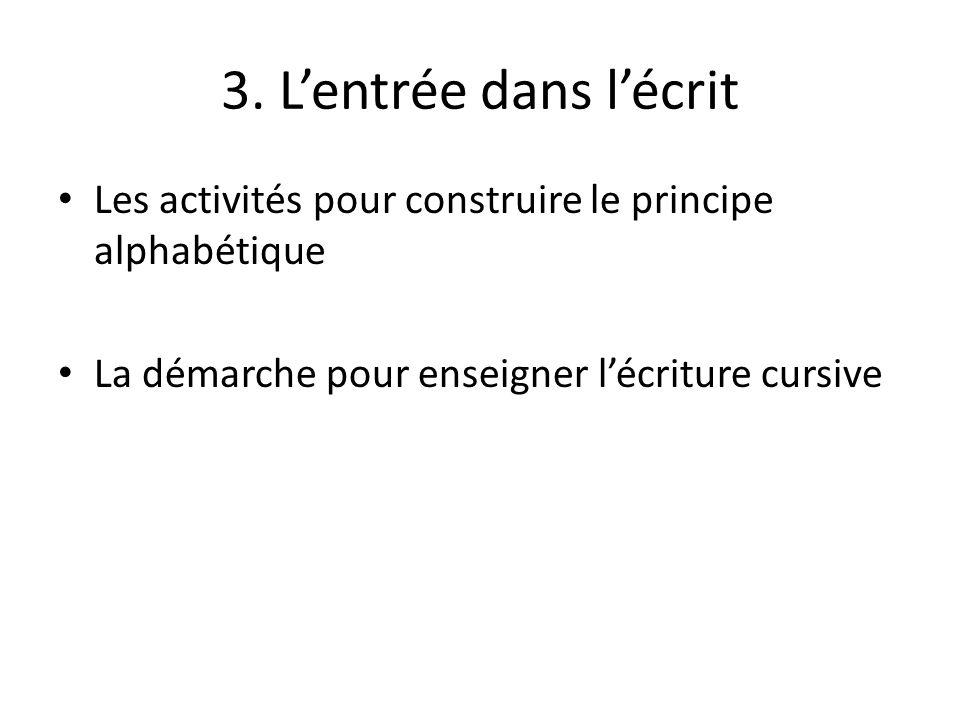 3. Lentrée dans lécrit Les activités pour construire le principe alphabétique La démarche pour enseigner lécriture cursive