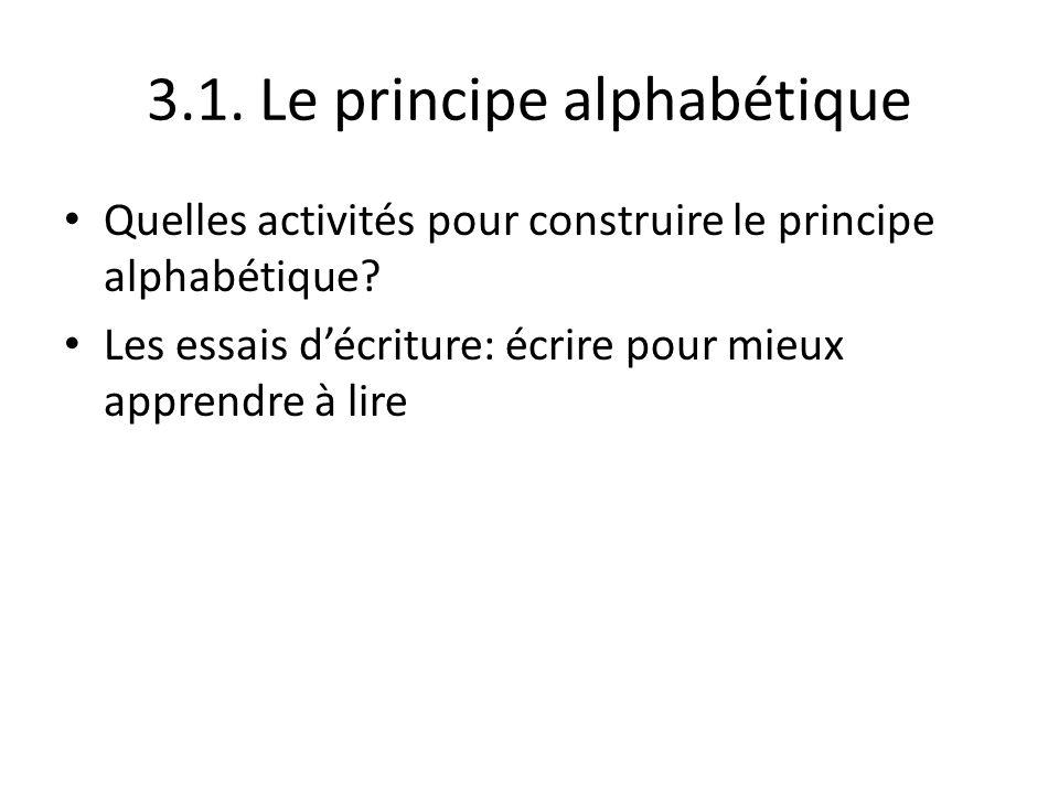 3.1. Le principe alphabétique Quelles activités pour construire le principe alphabétique? Les essais décriture: écrire pour mieux apprendre à lire