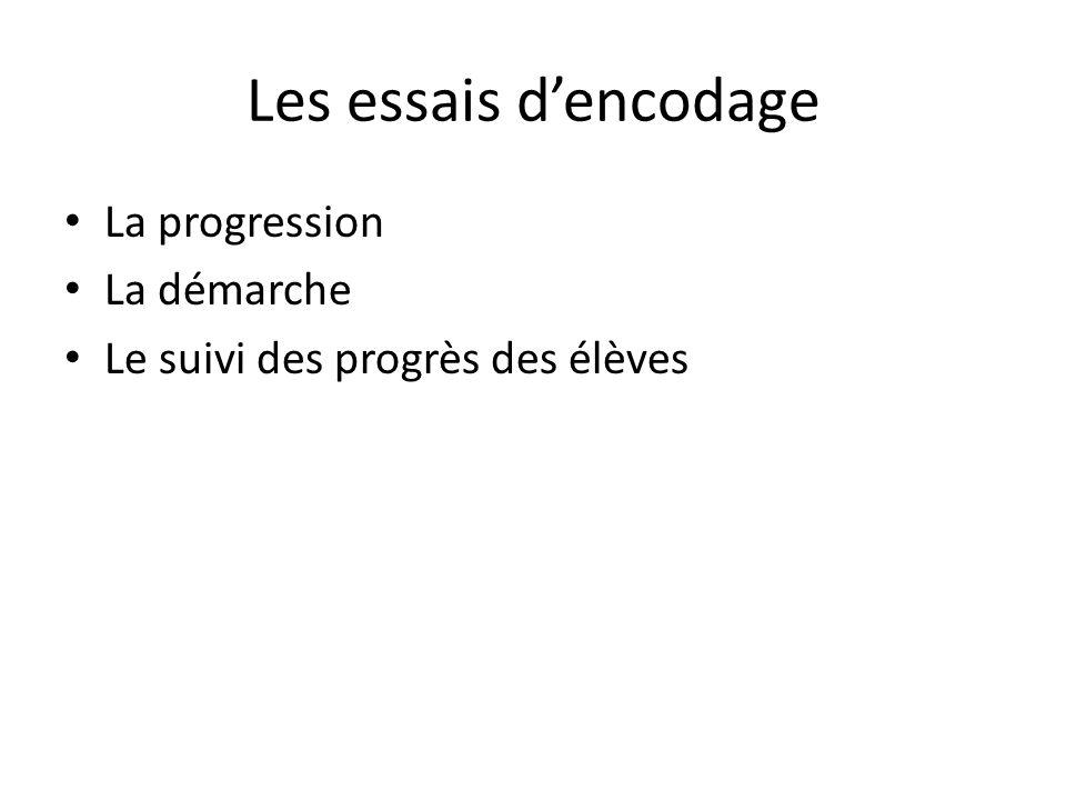 Les essais dencodage La progression La démarche Le suivi des progrès des élèves