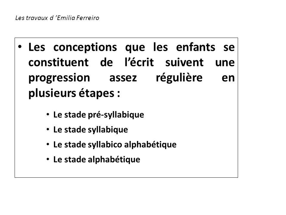 Les conceptions que les enfants se constituent de lécrit suivent une progression assez régulière en plusieurs étapes : Le stade pré-syllabique Le stad