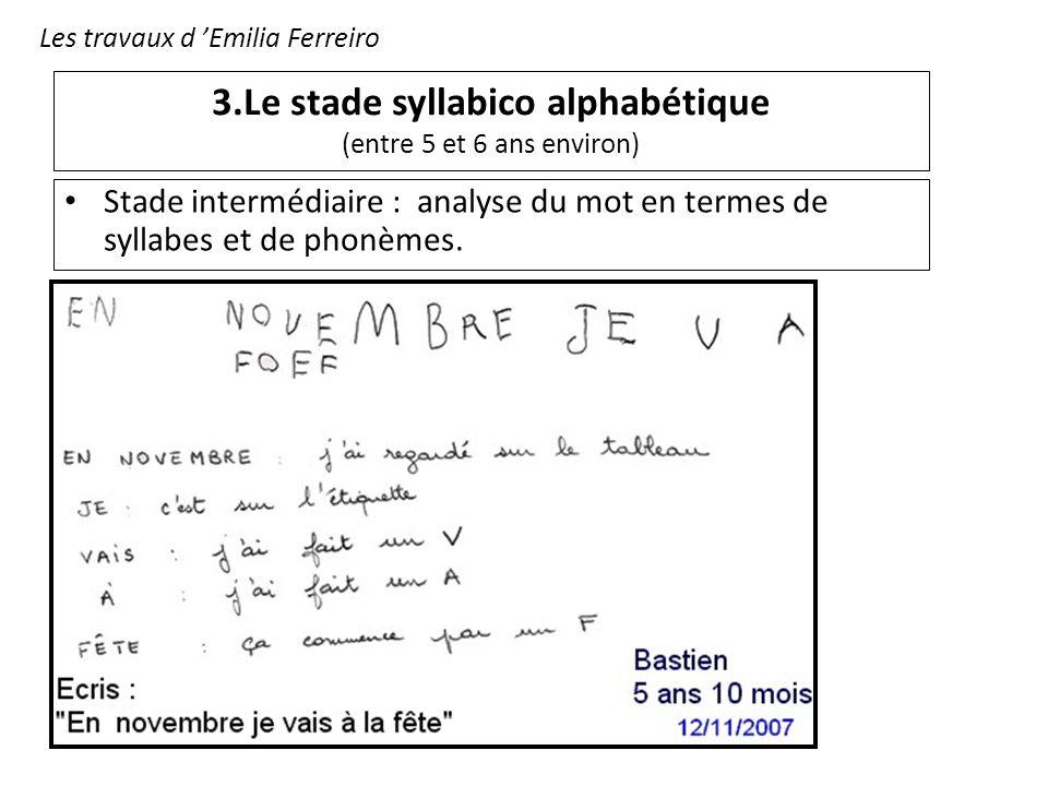 3.Le stade syllabico alphabétique (entre 5 et 6 ans environ) Stade intermédiaire : analyse du mot en termes de syllabes et de phonèmes. Les travaux d