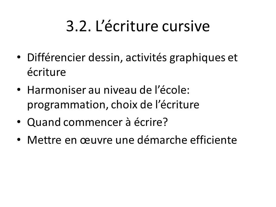 3.2. Lécriture cursive Différencier dessin, activités graphiques et écriture Harmoniser au niveau de lécole: programmation, choix de lécriture Quand c