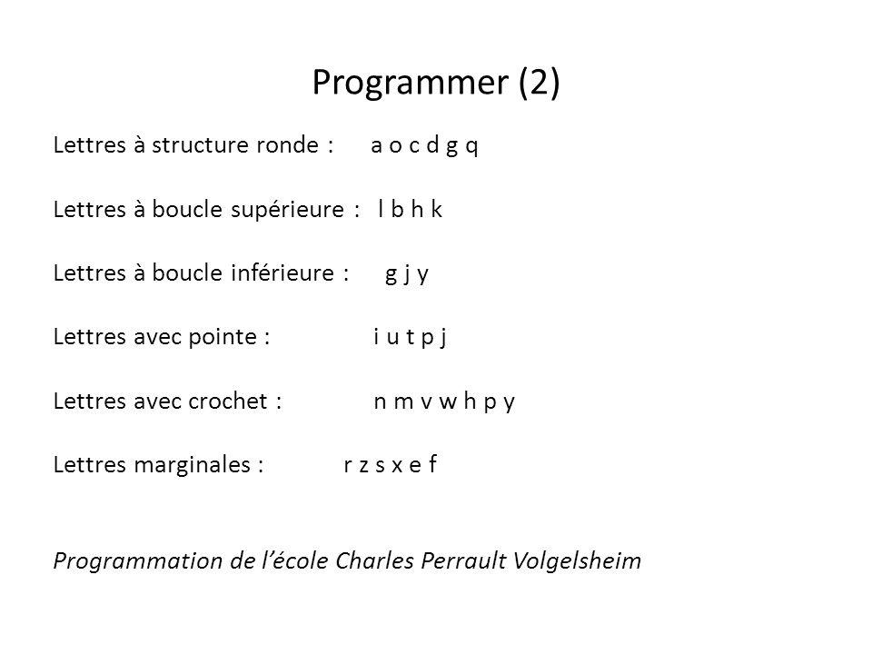 Programmer (2) Lettres à structure ronde : a o c d g q Lettres à boucle supérieure : l b h k Lettres à boucle inférieure : g j y Lettres avec pointe :