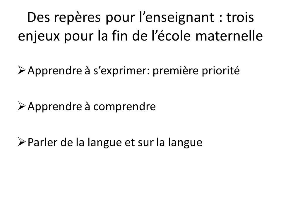 Observer les gestes professionnels A partir du tableau «gestes professionnels spécifiques à lécole maternelle», quallons- nous observer plus spécifiquement en langage?