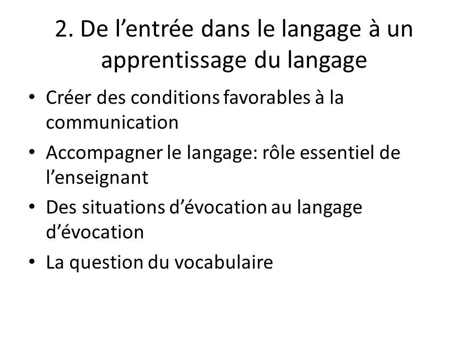 2. De lentrée dans le langage à un apprentissage du langage Créer des conditions favorables à la communication Accompagner le langage: rôle essentiel
