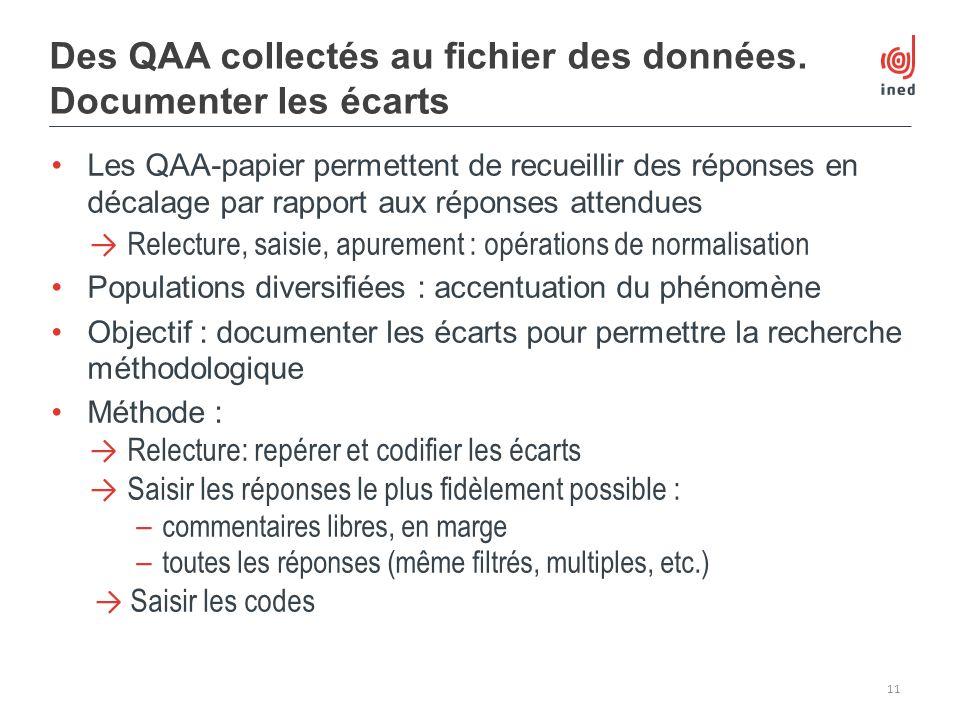 Les QAA-papier permettent de recueillir des réponses en décalage par rapport aux réponses attendues Relecture, saisie, apurement : opérations de norma