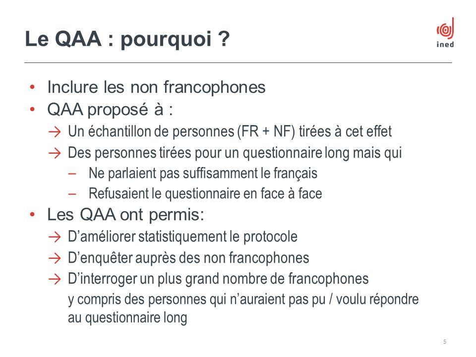Inclure les non francophones QAA proposé à : Un échantillon de personnes (FR + NF) tirées à cet effet Des personnes tirées pour un questionnaire long