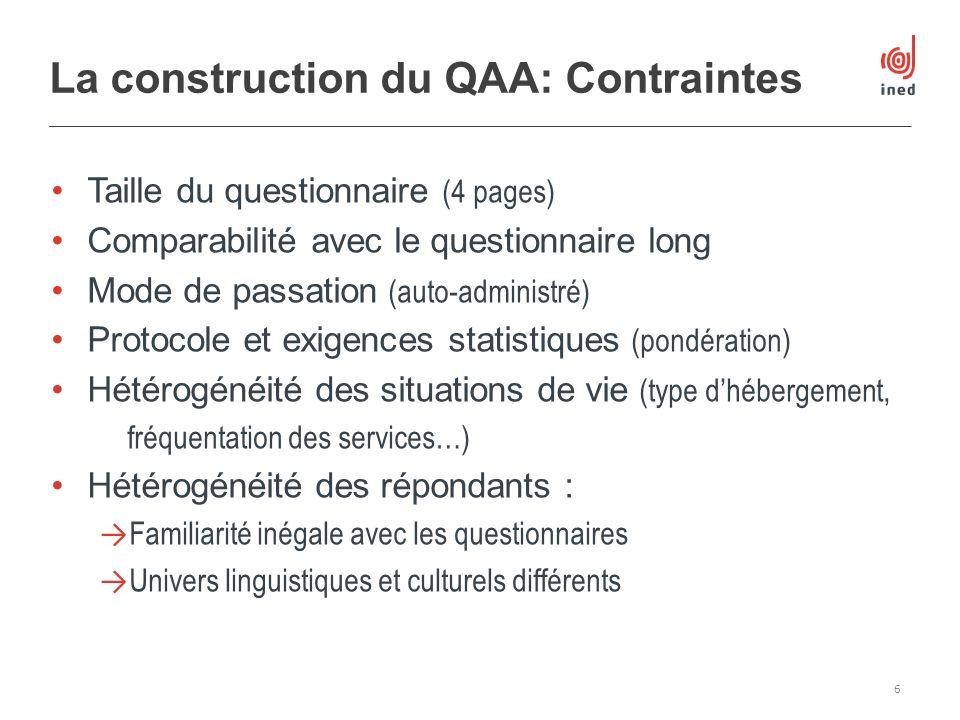 Taille du questionnaire (4 pages) Comparabilité avec le questionnaire long Mode de passation (auto-administré) Protocole et exigences statistiques (po