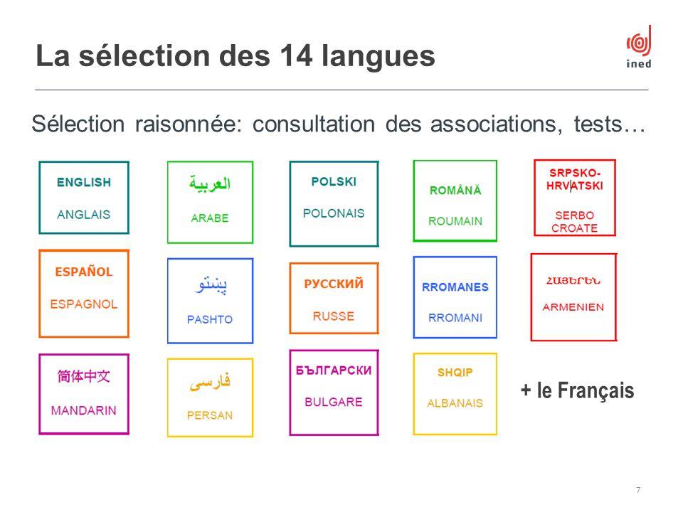 La sélection des 14 langues 7 + le Français Sélection raisonnée: consultation des associations, tests…