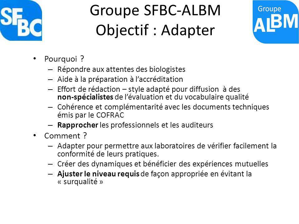 Groupe SFBC-ALBM Objectif : Adapter Pourquoi ? – Répondre aux attentes des biologistes – Aide à la préparation à laccréditation – Effort de rédaction