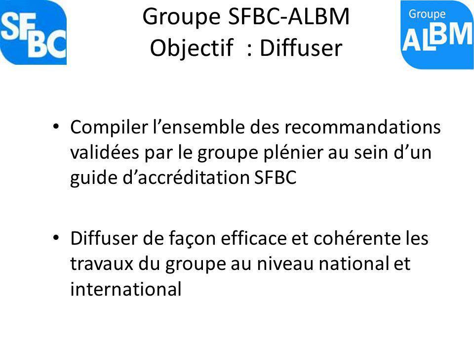 Groupe SFBC-ALBM Objectif : Diffuser Compiler lensemble des recommandations validées par le groupe plénier au sein dun guide daccréditation SFBC Diffu