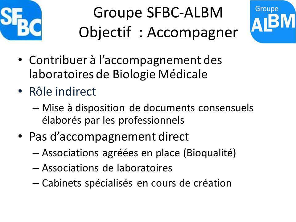 Groupe SFBC-ALBM Objectif : Accompagner Contribuer à laccompagnement des laboratoires de Biologie Médicale Rôle indirect – Mise à disposition de docum