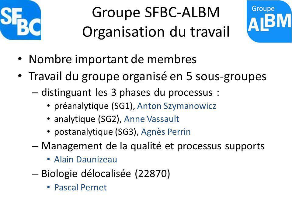Groupe SFBC-ALBM Organisation du travail Nombre important de membres Travail du groupe organisé en 5 sous-groupes – distinguant les 3 phases du proces
