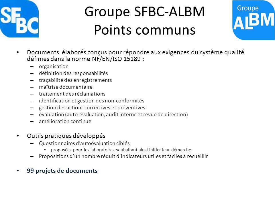 Groupe SFBC-ALBM Points communs Documents élaborés conçus pour répondre aux exigences du système qualité définies dans la norme NF/EN/ISO 15189 : – or