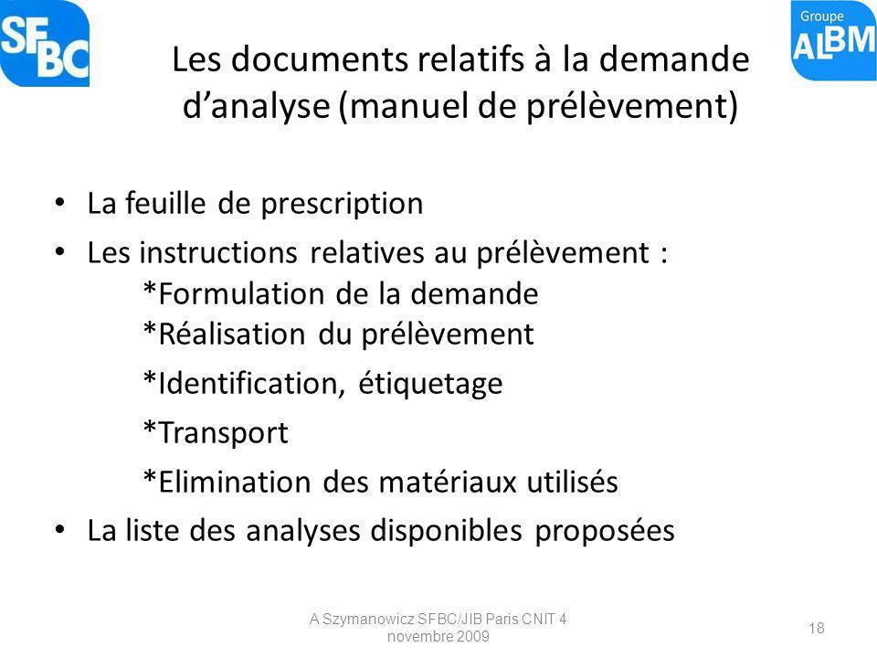 A Szymanowicz SFBC/JIB Paris CNIT 4 novembre 2009 18 Les documents relatifs à la demande danalyse (manuel de prélèvement) La feuille de prescription L