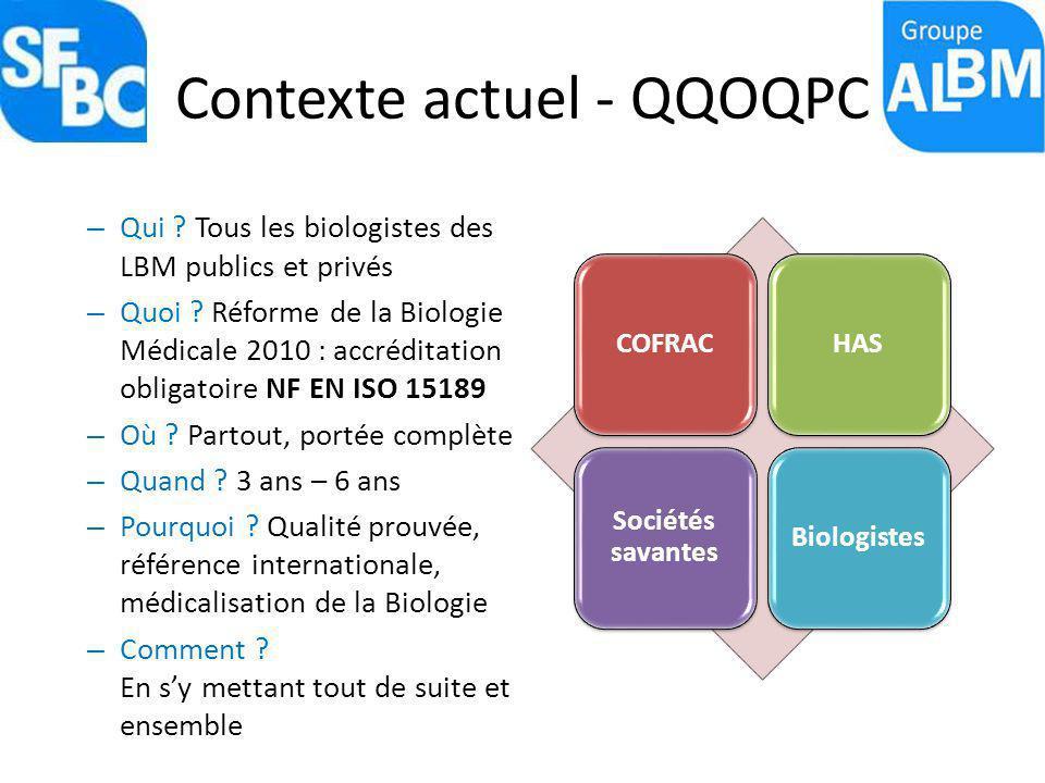 Contexte actuel - QQOQPC – Qui ? Tous les biologistes des LBM publics et privés – Quoi ? Réforme de la Biologie Médicale 2010 : accréditation obligato