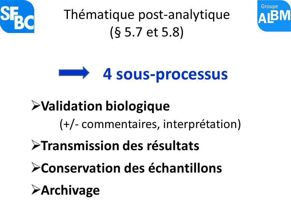 Thématique post-analytique (§ 5.7 et 5.8) Validation biologique (+/- commentaires, interprétation) Transmission des résultats Conservation des échanti