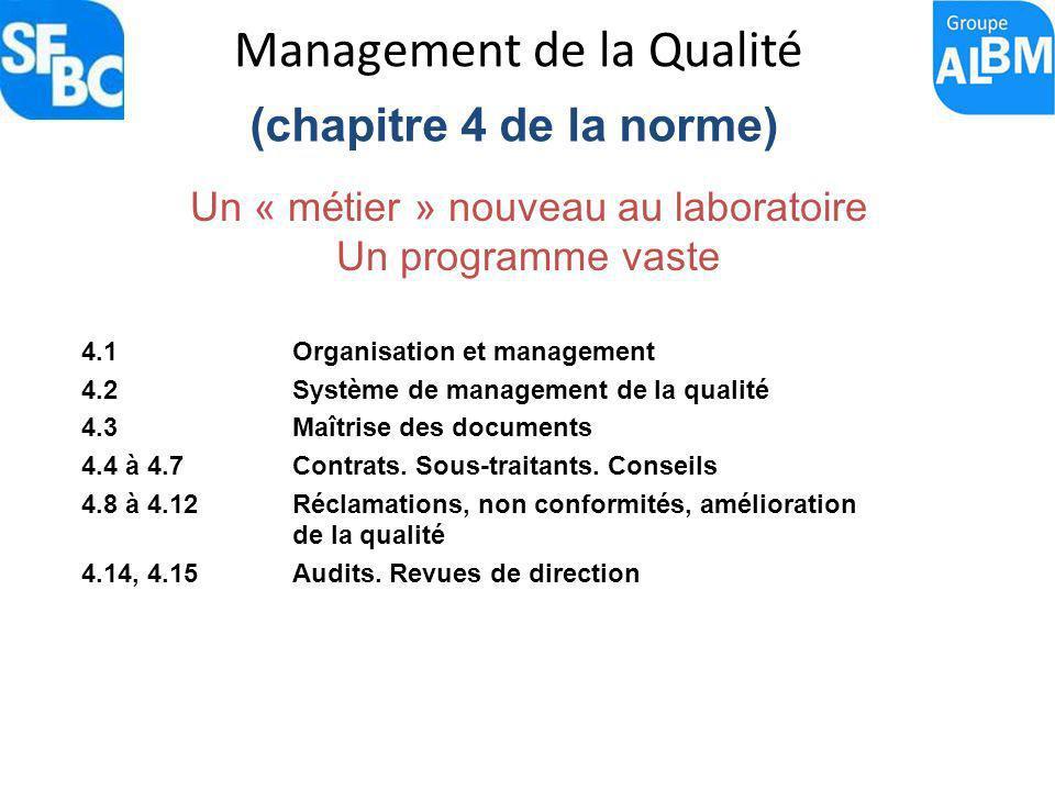 Management de la Qualité (chapitre 4 de la norme) Un « m é tier » nouveau au laboratoire Un programme vaste 4.1 Organisation et management 4.2 Système