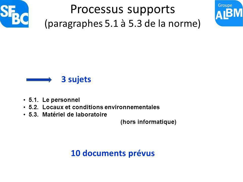 Processus supports (paragraphes 5.1 à 5.3 de la norme) 3 sujets 10 documents prévus 5.1. Le personnel 5.2. Locaux et conditions environnementales 5.3.