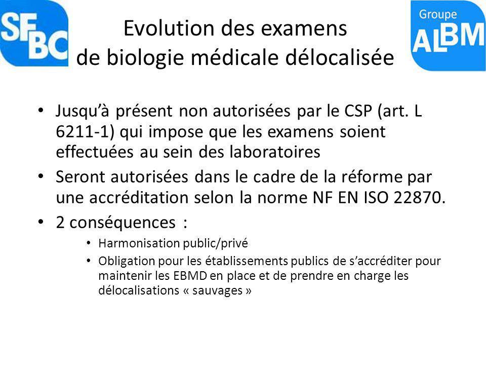Evolution des examens de biologie médicale délocalisée Jusquà présent non autorisées par le CSP (art. L 6211-1) qui impose que les examens soient effe