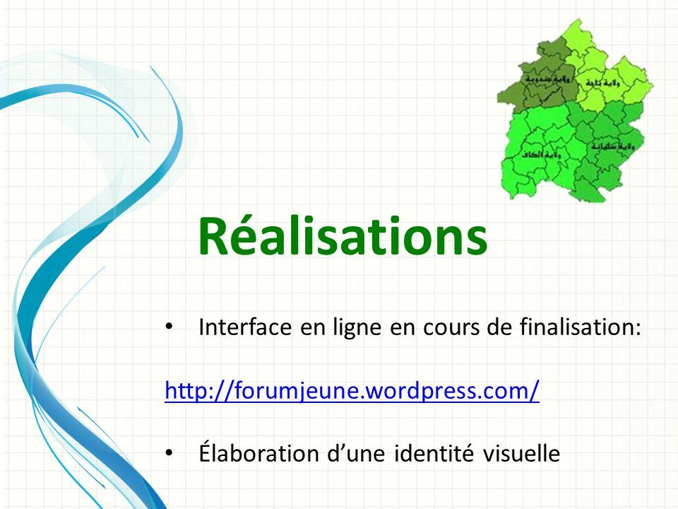 Réalisations Interface en ligne en cours de finalisation: http://forumjeune.wordpress.com/ Élaboration dune identité visuelle
