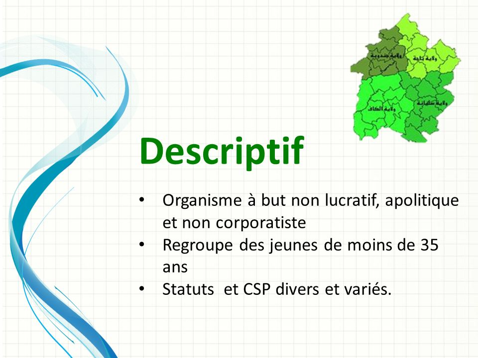 Descriptif Organisme à but non lucratif, apolitique et non corporatiste Regroupe des jeunes de moins de 35 ans Statuts et CSP divers et variés.
