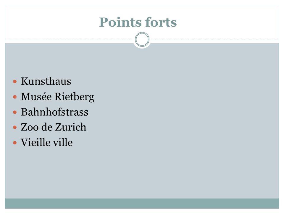 Points forts Kunsthaus Musée Rietberg Bahnhofstrass Zoo de Zurich Vieille ville