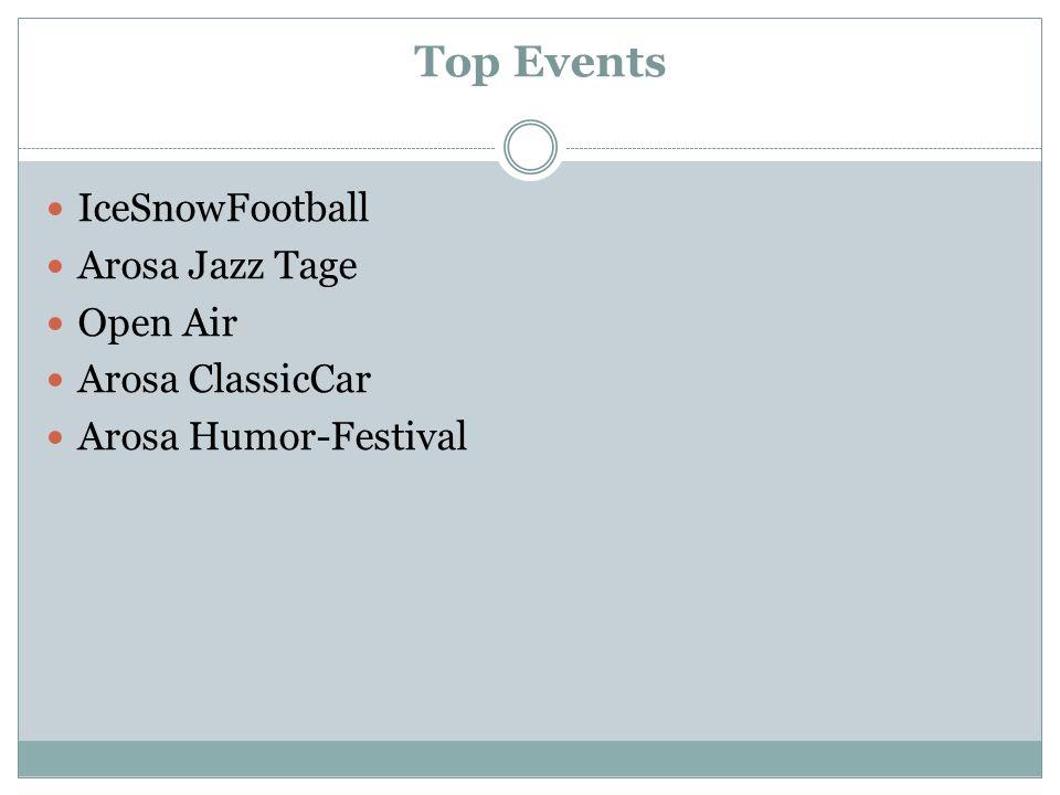 Top Events IceSnowFootball Arosa Jazz Tage Open Air Arosa ClassicCar Arosa Humor-Festival