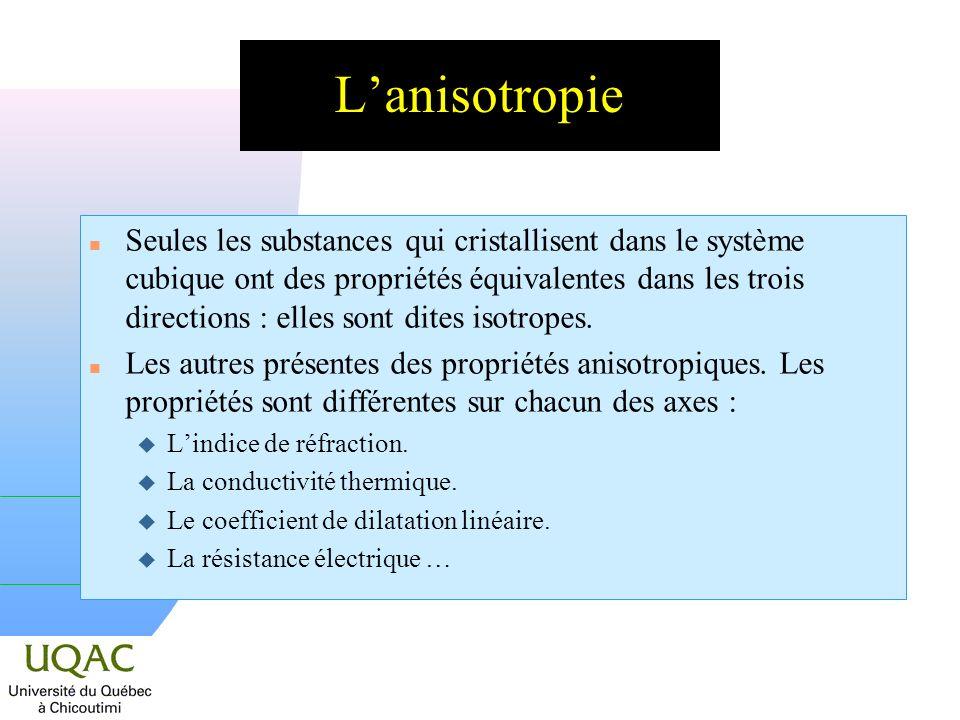Lanisotropie n Seules les substances qui cristallisent dans le système cubique ont des propriétés équivalentes dans les trois directions : elles sont