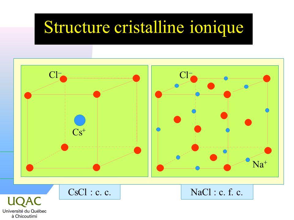 Structure cristalline ionique Cl Cs + CsCl : c. c. Cl Na + NaCl : c. f. c.