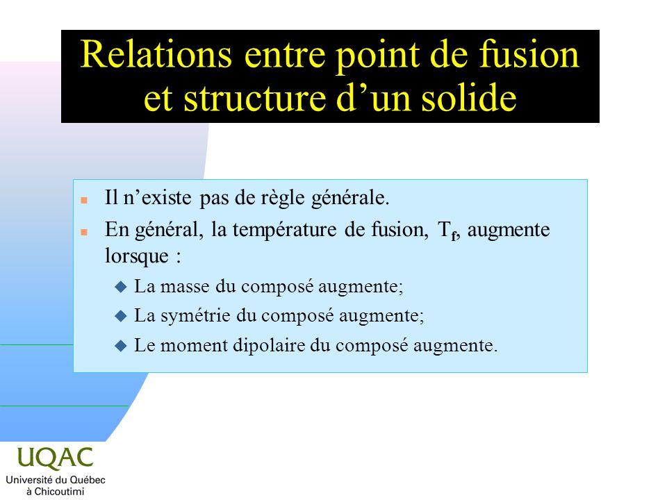 Relations entre point de fusion et structure dun solide n Il nexiste pas de règle générale. n En général, la température de fusion, T f, augmente lors