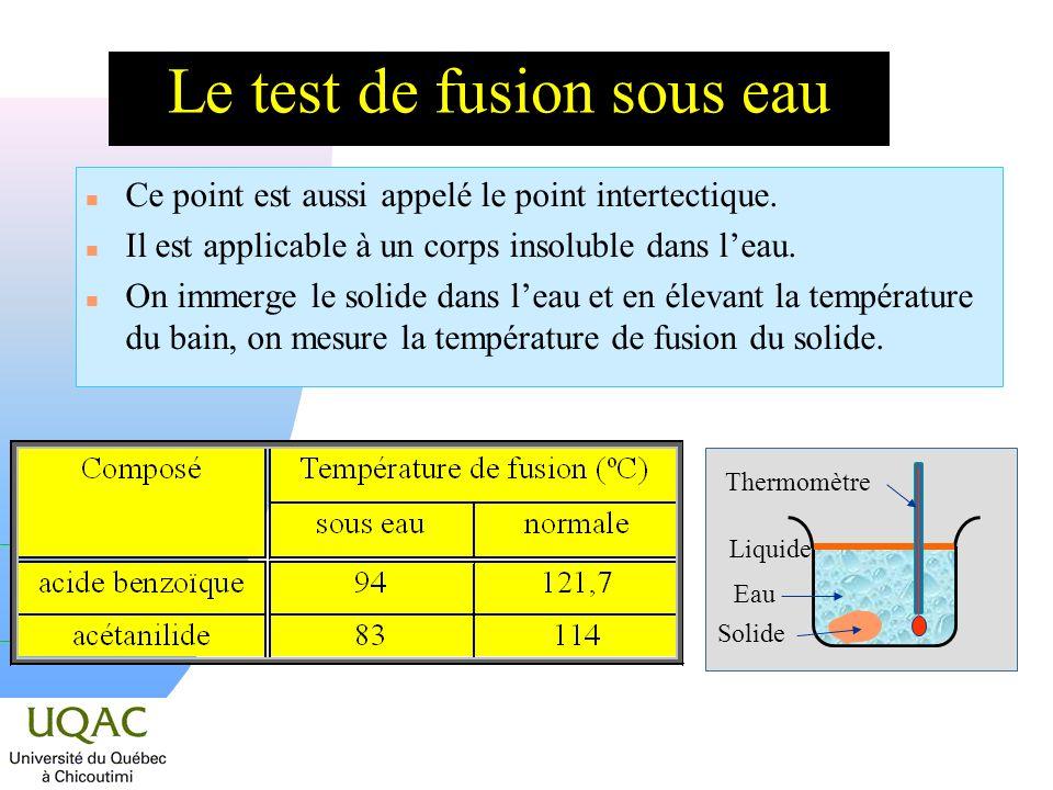 Le test de fusion sous eau n Ce point est aussi appelé le point intertectique. n Il est applicable à un corps insoluble dans leau. n On immerge le sol