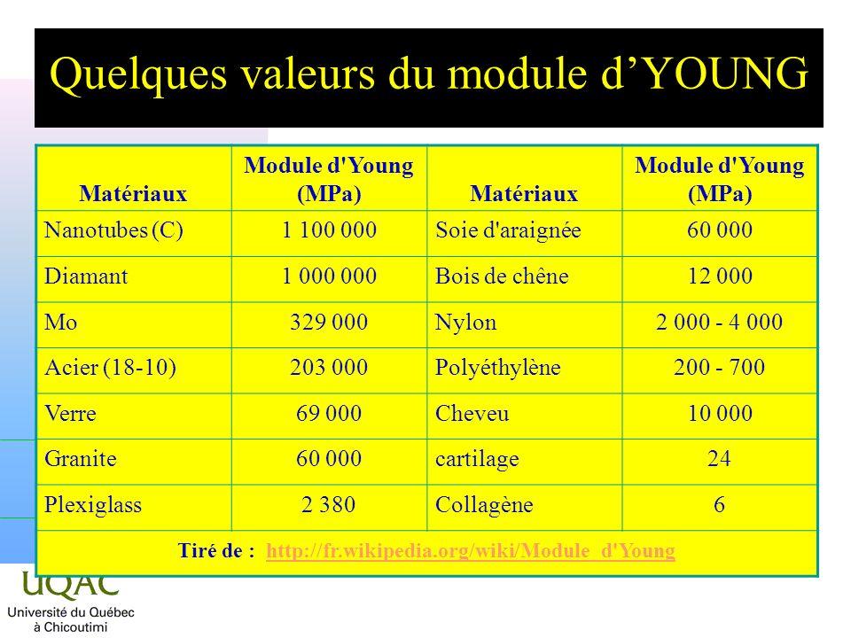 Quelques valeurs du module dYOUNG Matériaux Module d'Young (MPa)Matériaux Module d'Young (MPa) Nanotubes (C)1 100 000Soie d'araignée60 000 Diamant1 00