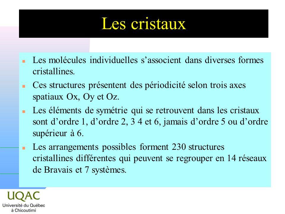 Les cristaux n Les molécules individuelles sassocient dans diverses formes cristallines. n Ces structures présentent des périodicité selon trois axes