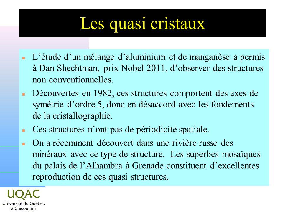 Les quasi cristaux n Létude dun mélange daluminium et de manganèse a permis à Dan Shechtman, prix Nobel 2011, dobserver des structures non conventionn