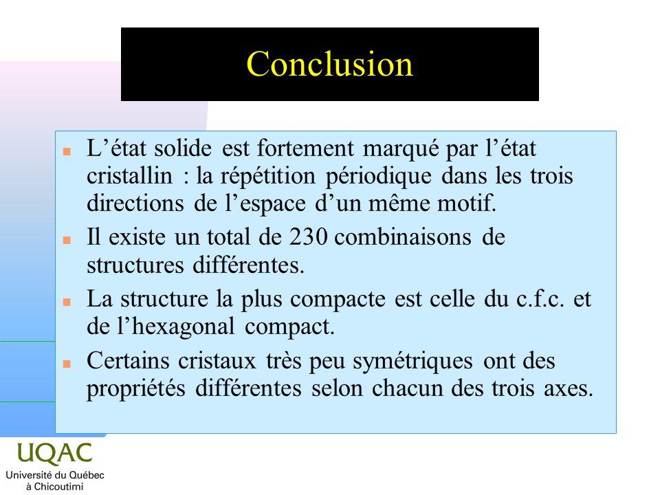n Létat solide est fortement marqué par létat cristallin : la répétition périodique dans les trois directions de lespace dun même motif. n Il existe u
