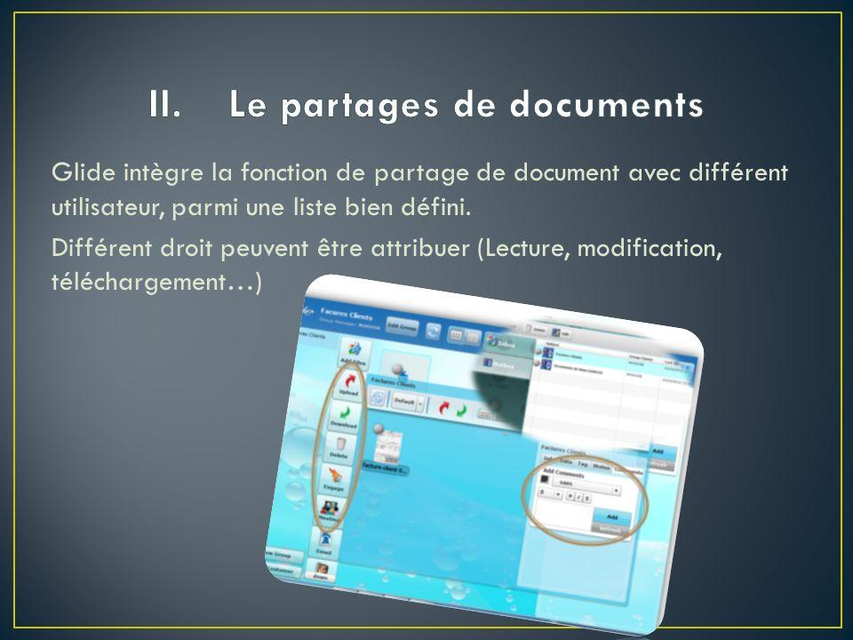 Glide intègre la fonction de partage de document avec différent utilisateur, parmi une liste bien défini.