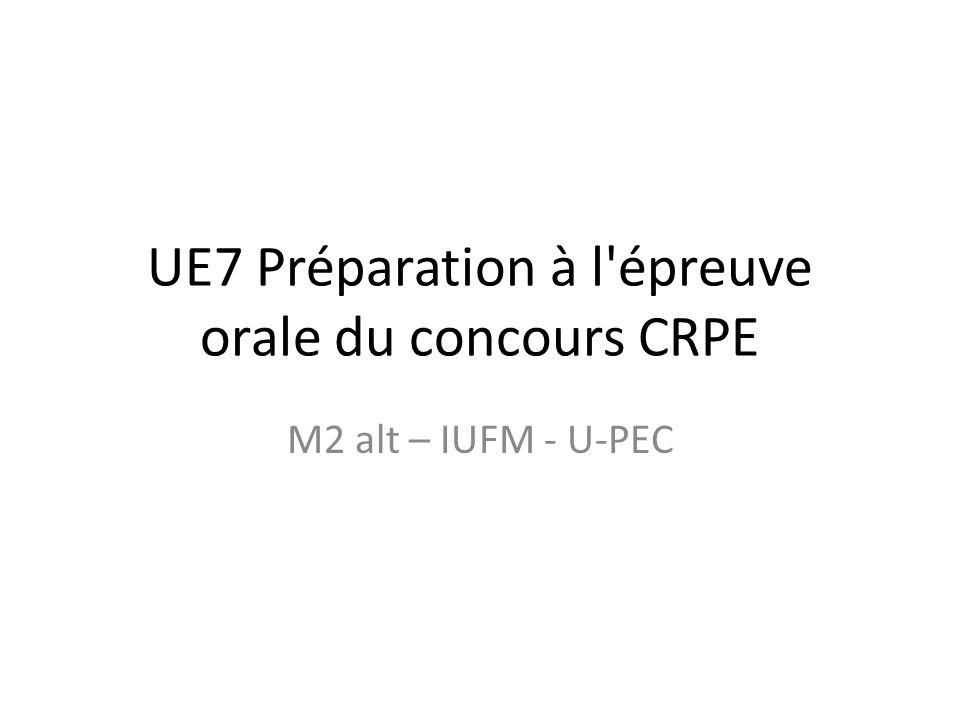 objectif des UE7 et UE10 préparer à l épreuve d admission du concours CRPE en s entraînant à construire des séquences en mathématiques pour la maternelle et l élémentaire mais c est aussi une façon d apprendre des gestes professionnels pour la classe (découpage, préparation et organisation des enseignements), utiles pour les UE8 et UE12 et pour les stages, ainsi que pour les années qui suivront