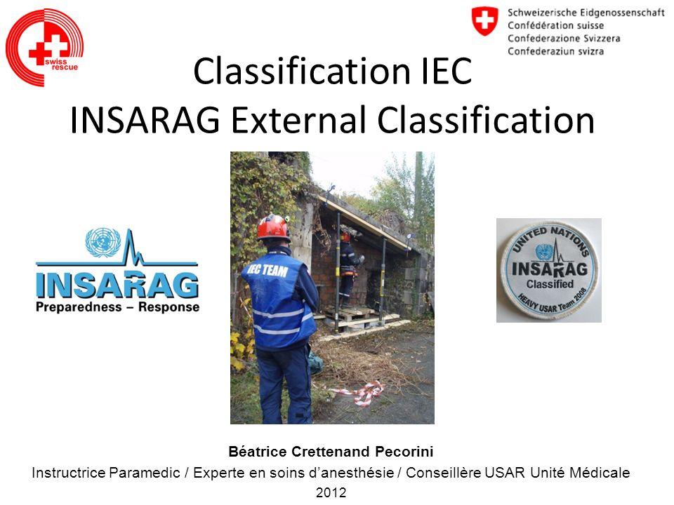 Classification IEC INSARAG External Classification Béatrice Crettenand Pecorini Instructrice Paramedic / Experte en soins danesthésie / Conseillère US