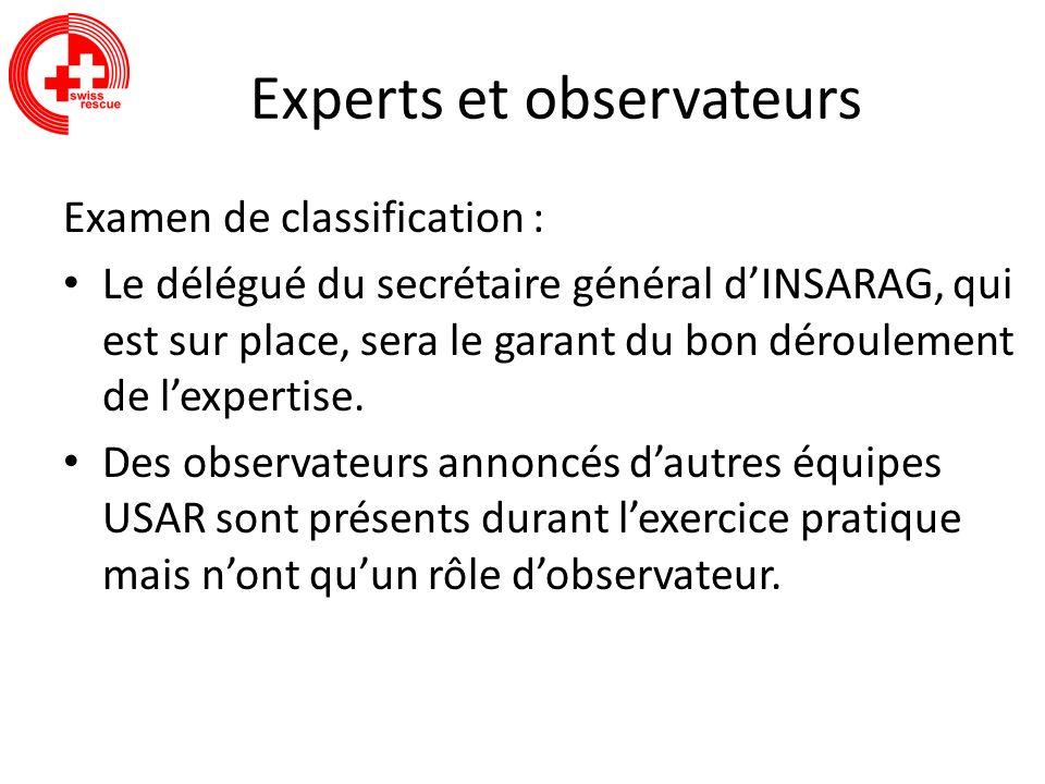 Experts et observateurs Examen de classification : Le délégué du secrétaire général dINSARAG, qui est sur place, sera le garant du bon déroulement de