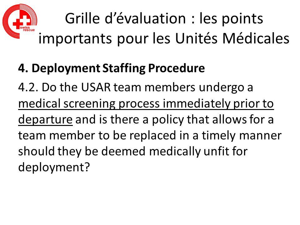 Grille dévaluation : les points importants pour les Unités Médicales 4. Deployment Staffing Procedure 4.2. Do the USAR team members undergo a medical