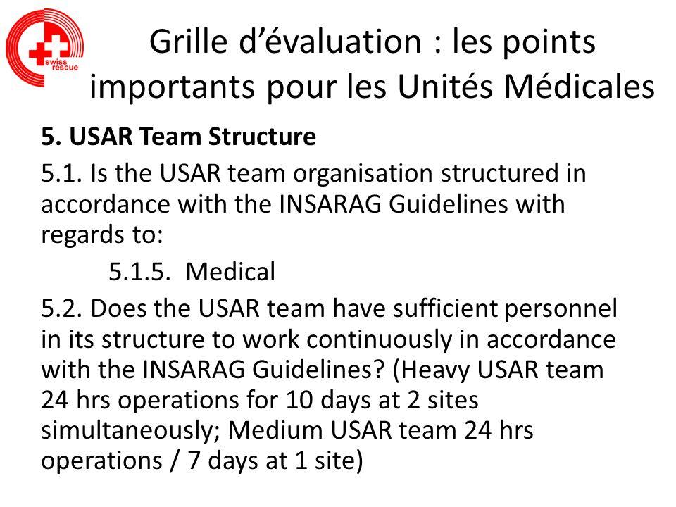 Grille dévaluation : les points importants pour les Unités Médicales 5. USAR Team Structure 5.1. Is the USAR team organisation structured in accordanc