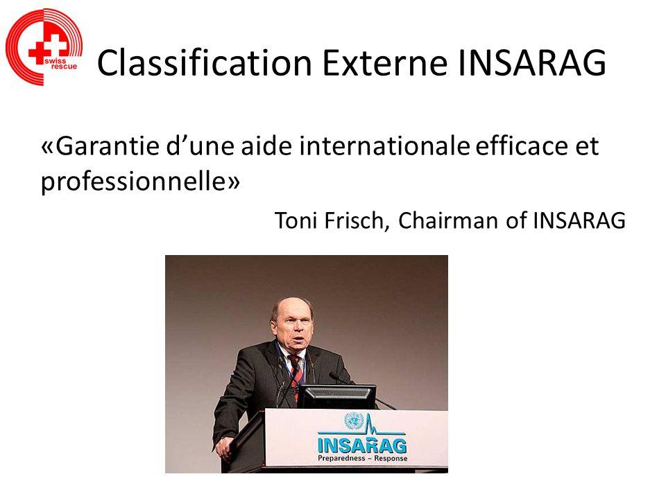 Classification Externe INSARAG «Garantie dune aide internationale efficace et professionnelle» Toni Frisch, Chairman of INSARAG
