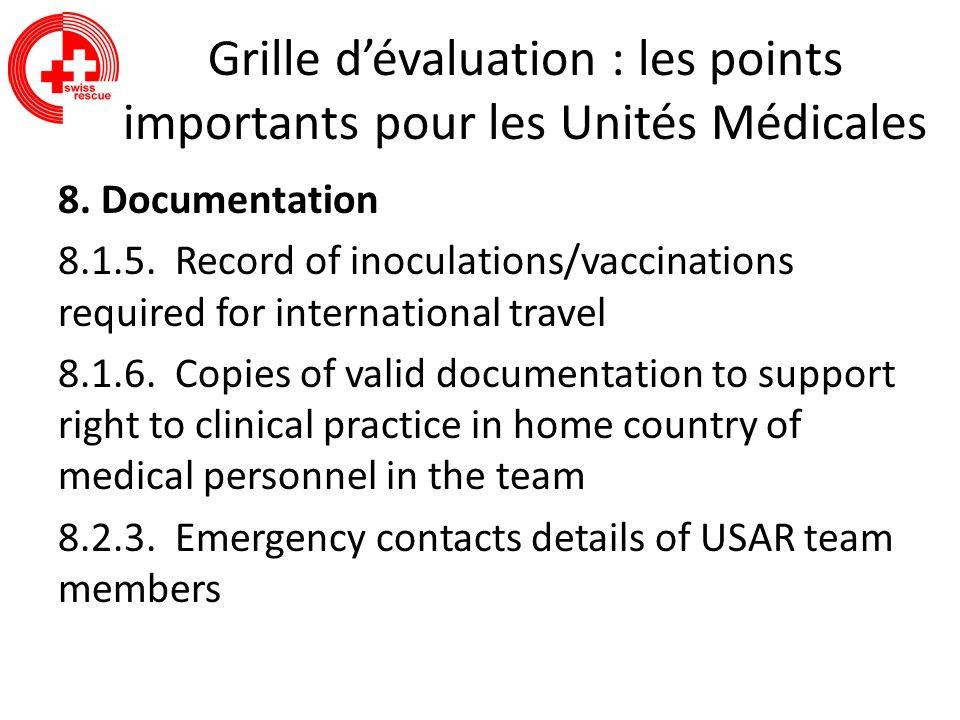 Grille dévaluation : les points importants pour les Unités Médicales 8. Documentation 8.1.5. Record of inoculations/vaccinations required for internat