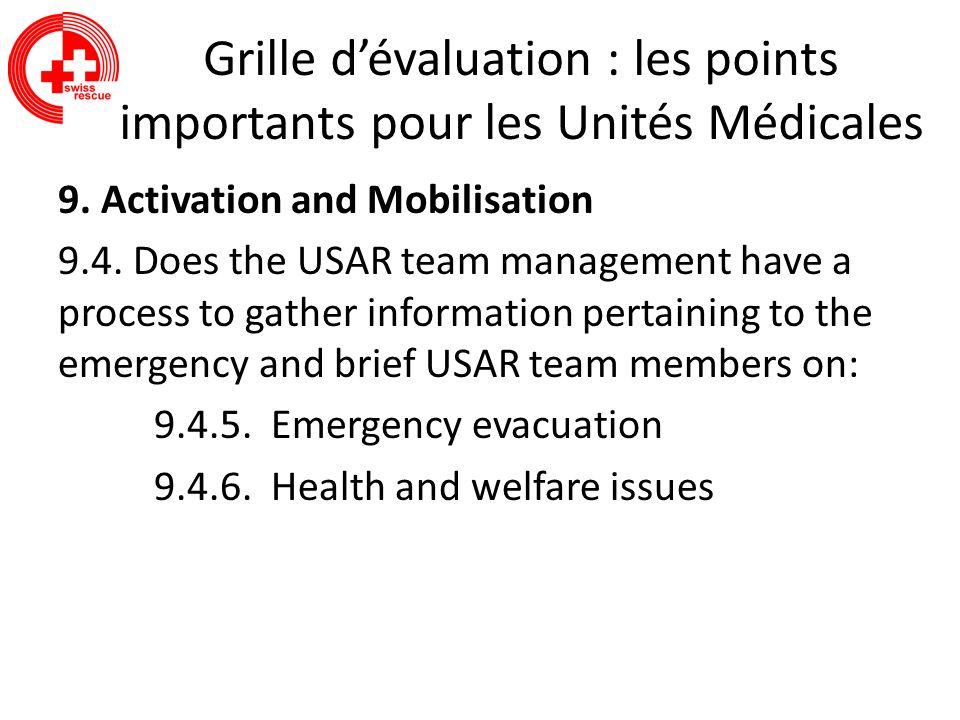 Grille dévaluation : les points importants pour les Unités Médicales 9. Activation and Mobilisation 9.4. Does the USAR team management have a process