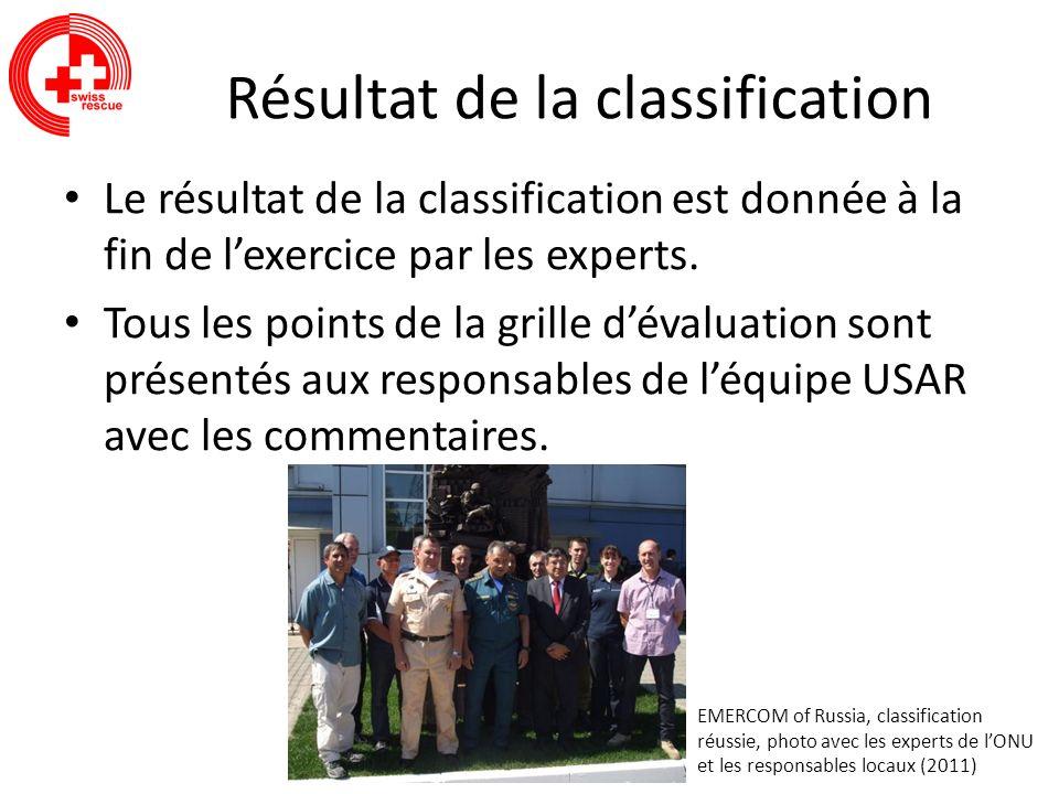Résultat de la classification Le résultat de la classification est donnée à la fin de lexercice par les experts. Tous les points de la grille dévaluat